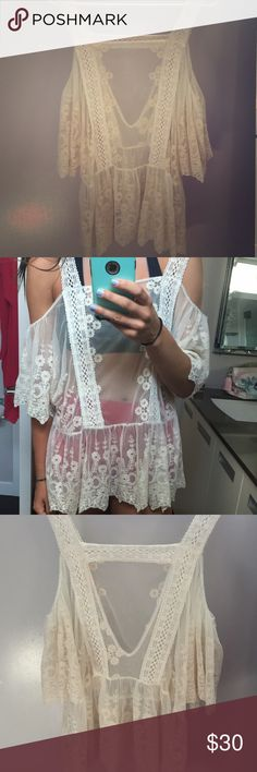 Lace Pins and Needles Top Size L Cute shoulder less top from boutique. Great shape. The brand is Pins and Needles Pins & Needles Tops Blouses