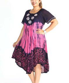 Loving this Shoreline Pink Tie-Dye Floral Midi Dress - Plus on #zulily! #zulilyfinds