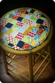 patchwork cushion. thrifted stool