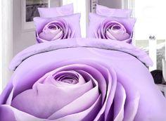 Amazing Purple Rose Bud Print 4-Piece 100% Cotton Duvet Cover Sets - beddinginn.com