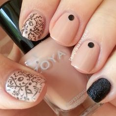 Plump and Polished: Mixed Manicure - Nude and Black