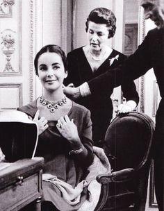 Ms. Elizabeth Taylor & Mr. Louis Arpels at the Van Cleef & Arpels' Place Vendôme salon in Paris. via Fashion + Class & Jet Lag