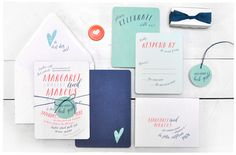 Wink Wedding Invitation Suite | Blue and casual invite with a funky flair | Smitten On Paper