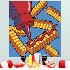 Mural Wall Art, Wall Decals, Pop Art Food, Pop Art Decor, Art Restaurant, Pop Art Design, Diy Art, Art Boards, Kids Basement