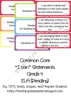 TIPS Shop - | Teachers Notebook  Common Core I Can Statements ELA Grade 4 Primary Colors