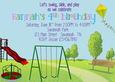 Check out this item in my Etsy shop https://www.etsy.com/listing/384907642/park-playground-birthday-invitation