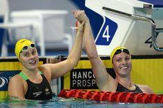 Emily Seebohm celebrates Pan Pacs gold with Belinda Hocking #panpacs2014