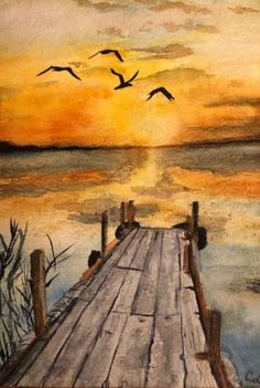 35 Easy Watercolor Landscape Painting Ideas To Try Einfache Aquarell-Landschaftsmalerei-Ideen The old dock ends at nature& wonderous sunset over the still waters. I like the iridescent water. Nothing looks extremely bold enough though shades of orange and Watercolor Sunset, Watercolor Landscape Paintings, Watercolor Ideas, Water Color Painting Landscape, Paintings Of Landscapes, Landscape Fabric, Landscape Art, Landscape Edging, Sunset Landscape