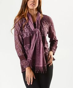 Another great find on #zulily! Burgundy Sheer Floral Lace Tunic Set - Women #zulilyfinds