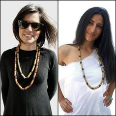#Recycledpapernecklace: single or double!!! Worn by my beautiful models Giulia and Katerina!!! Emoticon smile Not yet in the shop.