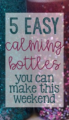 easy calming/sensory bottles for school counseling using glue, water beads, glitter, and food coloring! Middle School Counselor, Elementary School Counseling, School Social Work, Elementary Schools, High Schools, Counseling Activities, Sensory Activities, Sensory Rooms, Work Activities