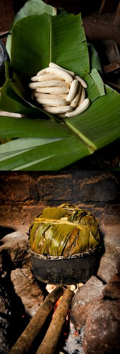 """In #Uganda, Barbara wraps bananas in #banana leaves to prepare them for cooking """"matooke,"""" the main component of meals in World Vision's Kasangombe community. (Photo: 2010 Jon Warren/World Vision)"""