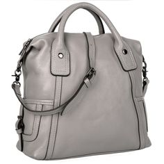 "YALUXE Women's Soft Genuine Leather Purse Top Handle Cross Body Shoulder Bag Grey. Soft Top Grain Leather Purse£¨soft frame ) with quality brown fabric lining.It's gorgeous and casual,which is never out of fashion. High quality tarnish color hardware has high resistance to rust,corrosion and tarnishing.Detailed streamlined stitching greatly highlights its elegance. Come with an adjustable shoulder strap(length up to 43.3"")to make it 3 carrying ways: Top-handle / Single Shoulder…"