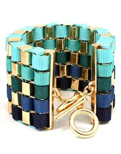 Blue and Gold Box Chain Ribbon Bracelet