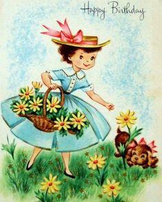 Vintage Greetings Card Pretty Girl