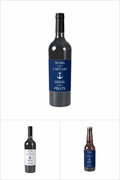 Wine label Work Like A Captain, Drink Like A Pirate. Perfect for nautical theme party.