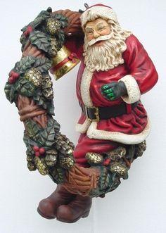 Santa With Wreath Statue (Hanging) Christmas Balls, Xmas, Burlap Wreath, Samurai, Christmas Decorations, Santa, Carving, Wreaths, Statue