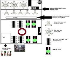 Original Party table setup diagram for Destiny's graduation party