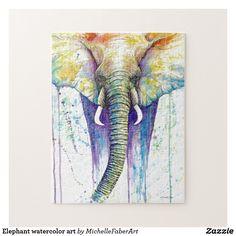 Elephant watercolor art jigsaw puzzle