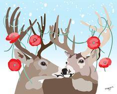 Animal art - Reindeer print - Reindeer painting - Poppy print - The Reindeer Couple by Pragya Kothari
