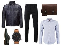 navy blue leather jacket, leather bag, classic shoes, black pants, watch