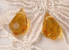 Topaz faceted teardrop Czech glass beads 10mm x 2pc WBS0022, €1,16