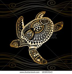 Decorative golden turtle, graphic style, tribal totem animal, vector illustration, isolated design elements, gold on black wave pattern
