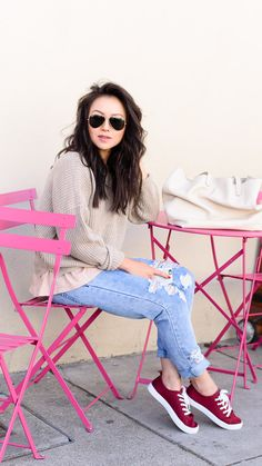 Oatmeal Sweater + Ripped Jeans + Aviators + Cream Bag + Burgundy Shoes // The Fancy Pants Report