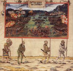 Artist: Albrecht Altdorfer Title:Triumphzug Kaiser Maximilians, Entwurf zu »Die erste flämische Eroberung«. Date: 1513-1515