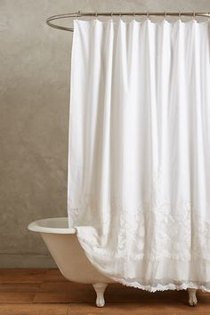 Sewing Curtains Slide View: Caprice Shower Curtain - This stunning curtain - from interior design favorite Pom Pom at Home - features ornate embroidery and classically feminine cotton lace. Lace Shower Curtains, Shabby Chic Shower Curtain, Bathroom Shower Curtains, Shower Curtain White, Farmhouse Shower Curtain, Shabby Chic Curtains, Bathroom Laundry, Long Curtains, Brown Bathroom