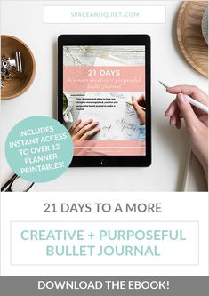 If you've been struggling to start a bullet journal, stay up to date with your planning, reach your goals, or find inspiration, this bullet journal eBook is for you! You'll find 21 days of tips, prompts and ideas to help you design a more organised, creative and purposeful bullet journal in under a month. #bulletjournal #bulletjournaling #bulletjournalebook #howtobulletjournal #bulletjournaltips #bulletjournalideas #creativejournaling #purpose #dailylog #futurelog #handlettering… Bullet Journal Ideas Templates, Journal Template, Planner Template, Printable Planner, Planner Stickers, Printables, Bullet Journal Books, Bullet Journal How To Start A, Banner Doodle
