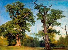 Albert Bierstadt – The High Museum of Art 71.27. Title: Pioneers of the Woods, California. Date: c. 1863. Materials: oil on paper