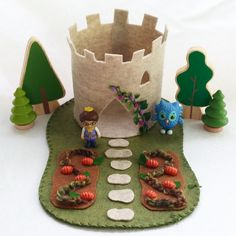 Pumpkin Patch Castle Playscape wool felt play mat imagination play storytelling storybook fairytale dollhouse peg doll princess imagination by MyBigWorld2015 on Etsy