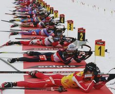 Awesome shot at the range in a biathlon race!