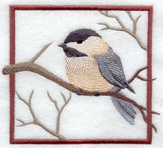 """Chickadee SquareProduct ID:C5027 Size:4.86""""(w) x 4.32""""(h) (123.6 x 109.6 mm)Color Changes:12 Stitches:15705Colors Used:10"""
