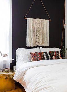 "This Chicago Rental's Thoughtful Design Redefines ""Cozy"" | Design*Sponge moody modern boho bedroom #bohobedroom"