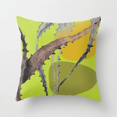 Cactus leaf Abstract Green Throw Pillow by amandadhay Cactus Leaves, Green Throw Pillows, Buy Cactus, Abstract, Store, Artwork, Artist, Summary, Lime Green Cushions