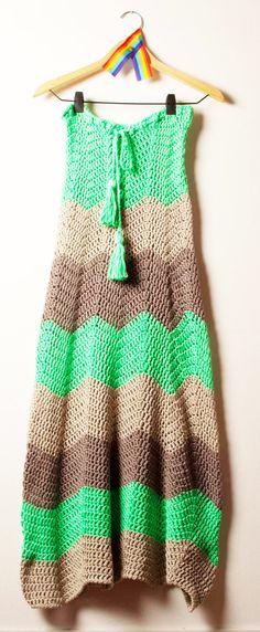 pollera larga zigzag flúo verde — de las bolivianas