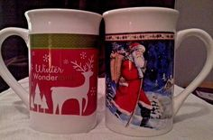 Collectible Set of 2 Royal Norfolk Christmas Winter Holiday Tall Coffee Cups #RoyalNorfolk