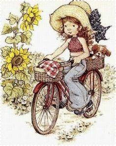 Slikovni rezultat za sarah kay on bicycle Sarah Key, Holly Hobbie, Sara Key Imagenes, Illustrations, Illustration Art, Decoupage, Australian Artists, Freelance Illustrator, Retro