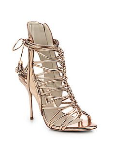 Sophia Webster Lacey Metallic Leather Strappy Sandals