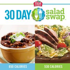 The Fresh Express 30 Day Salad Swap helps you recreate the flavors of your favorite higher-calorie foods in lower-calorie salads. Discover the free app with delicious recipes and money saving coupons at http://www.saladswap.com/
