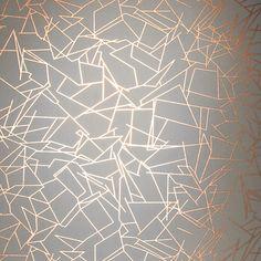 Angles Wallpaper - Copper Rose Zinc Grey