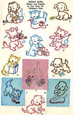 Vintage Hand Embroidery 1534 Puppies Kittens for par BlondiesSpot