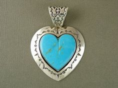 Large Sterling Silver Turquoise Heart Pendant by Mike Thompson, Navajo for $445.00 | Native American Jewelry