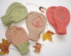 Fall baby mittens
