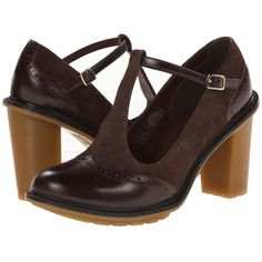 Dr. Martens Karishma Brogue T-Bar High Heels, Brown ($55) ❤ liked on Polyvore featuring shoes, sandals, heels, brown, thick heel sandals, brown t strap sandals, high heel shoes, platform heel sandals and heeled sandals