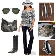 Cowgirl Up! Black and White...silvertribe.com jewelry and etsy.com bracelet!, created by peridotsgarden on Polyvore