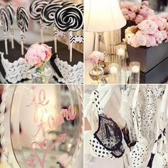 Pink, White, Black & Gold Colors? Bridal shower.....but change the pink to purple