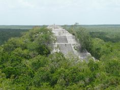 View of one of the Maya pyramids at Calakmul, Campeche